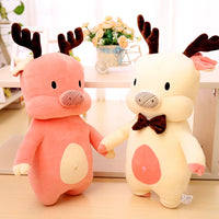 Cartoon Piggy Christmas Elk Plush Toy Soft Stuffed Pig Toy Pillow