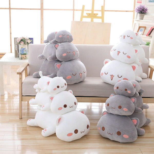 Cute Soft Animal Cat Plush Toy Cartoon Lying Cat Pillow Cushion