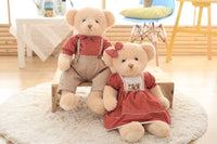 2pcs Couple Teddy Bear Plush Toys Stuffed Bear Doll with Plaid Clothes