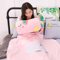 42CM Hand Warm Plush Toy Unicorn Doll Stuffed Pillow with Blanket