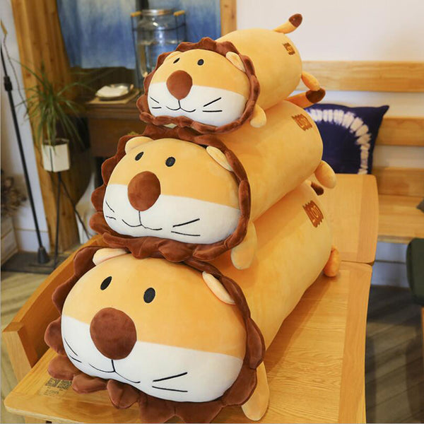 Cute Cartoon Lion Plush Toy Stuffed Animal Lion Doll Pillow