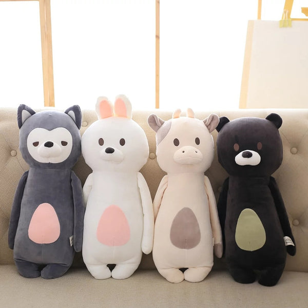 Soft Bear Rabbit Fox Cow Pillow Cushion Stuffed Animal Plush Toy