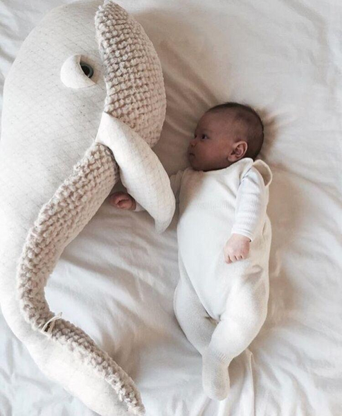 Light Color Stuffed Soft Whale Toy Baby Sleeping Doll Plush Pillow
