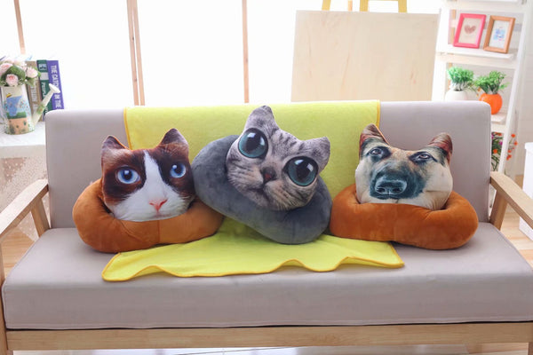 3D Vivid Digital Printed  Animal Plush pillow Soft Stuffed blanket