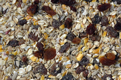 Blended ground feed for birds