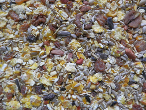Blended high energy ground feed for birds