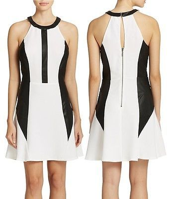 CLEAR-OUT: Guess Faux Leather Accented Stretch Ponte Fit & Flare Dress