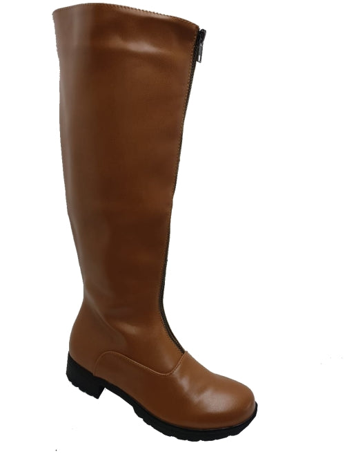 FINAL CLEARANCE: Knee High Front Zipper Boots in Tan