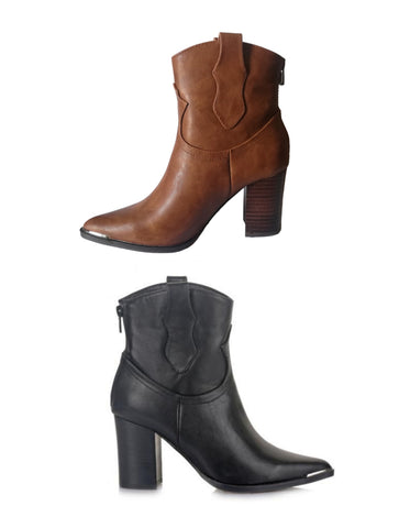 Exé Western Ankle Heel Booties | Available in Black & Tan