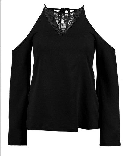 Ladies Top | Lace Open Shoulder Flare Sleeve Top by Boohoo