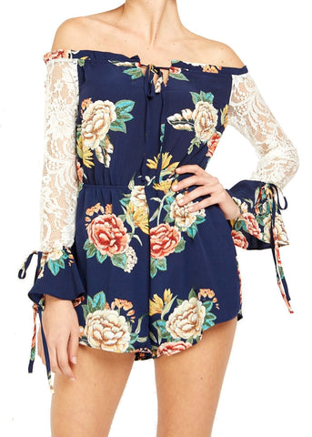 Off-shoulder Lace Sleeve Playsuit by Love & Other Things