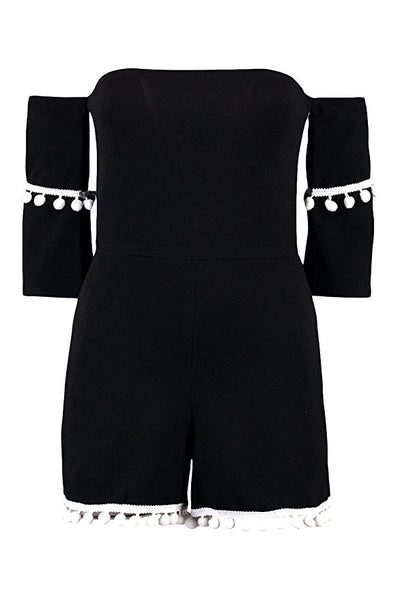CLEAR-OUT: Ladies Playsuits | Pom Pom Off Shoulder Playsuit