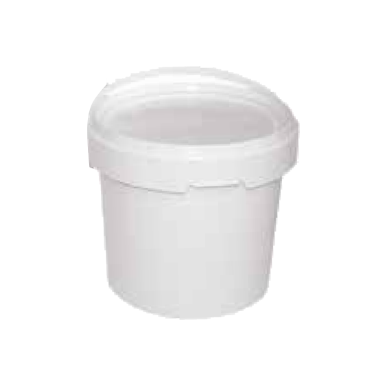 White Plastic Pail 2kg with Lid - 10 Pack