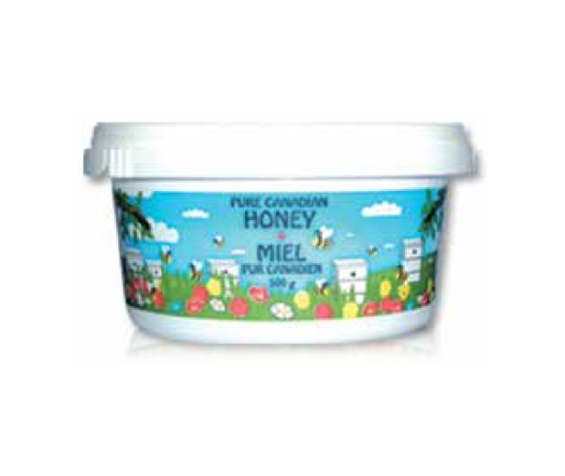 Honey Printed Plastic Tub 500g with Lid - Case of 12