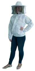 White Beekeeping Jacket - Standard with Round Hat