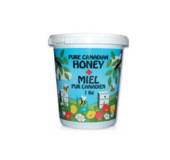 Honey Printed Plastic Tub 1kg with Lid - Case of 12