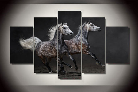 2 Black N Silver Horses - Cool Tees and Things