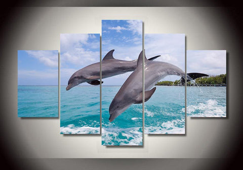 Beautiful Two Dolphins Canvas Wall Art Print on Stretched Canvas-Large-Not Framed-Aqua Gray-Cool Tees & Things