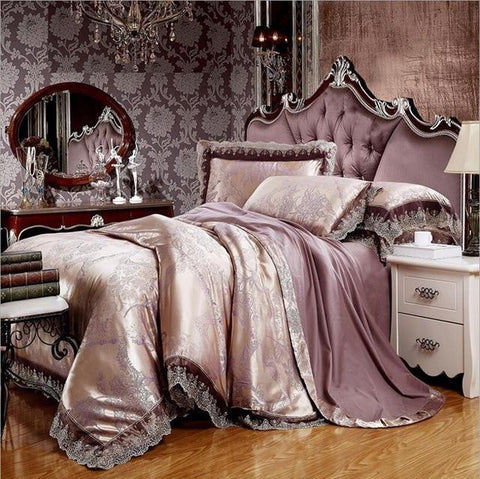 4/6 pcs Luxury Jacquard Bedding Set. Duvet Cover and Bed Sheet Set with Pillowcases
