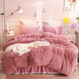 4/6 Pcs Luxury Plush Shaggy Duvet Cover Set. Quilted Pompoms. Bedskirt and Pillow Shams