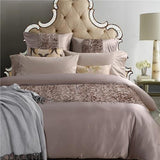 4/6Pcs Luxury Floral Bedding Set. Silk and Cotton Bed Sheet Set and Duvet Cover - Cool Tees and Things