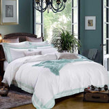 5-star Hotel Luxury White 100% Egyptian Cotton Bedding Sets. 4 pcs Full Queen King. Duvet Cover