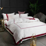 5-star Hotel Luxury White 100% Egyptian Cotton Bedding Sets. 4 pcs Full Queen King. Duvet Cover and Flat or Fitted Sheet