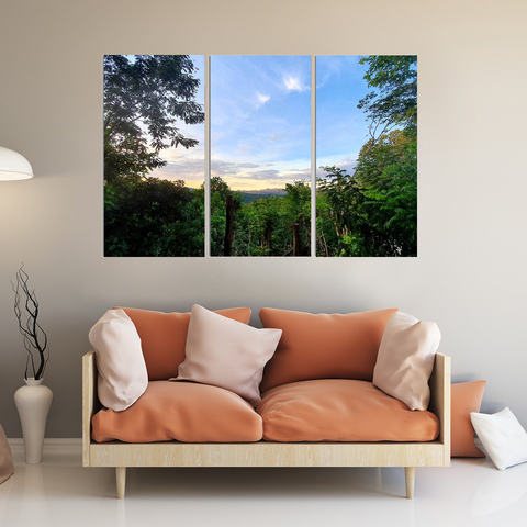 Breathtaking Thailand Mountain View Canvas-Wallart 3 Piece Vertical Rectangle-Medium - Not framed-Blue-Cool Tees & Things