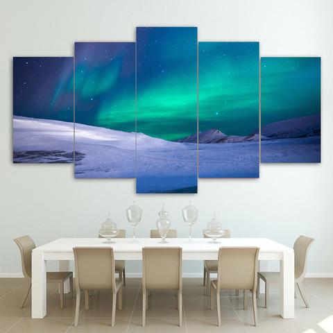 Northern Lights in Iceland-Medium-Not Framed-Aquamarine-Cool Tees & Things