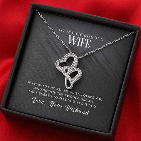 To My Gorgeous Wife- Double Hearts Necklace- Cool Tees and Things