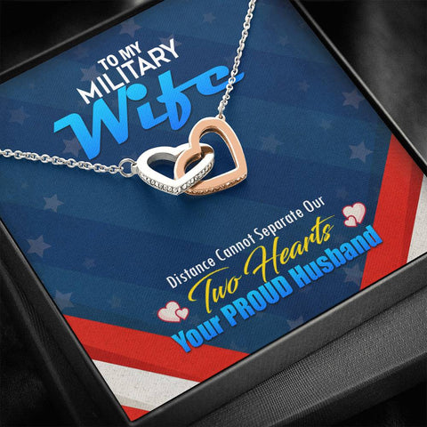 To My Military Wife- Interlocking Hearts Necklace-Cool Tees and Things