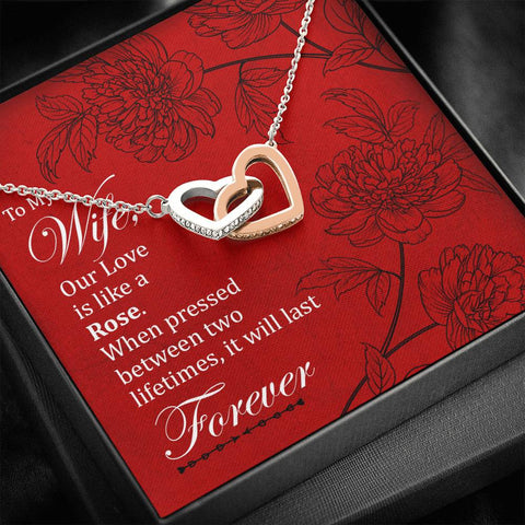 To My Wife- Interlocking Hearts Necklace- Cool Tees and Things