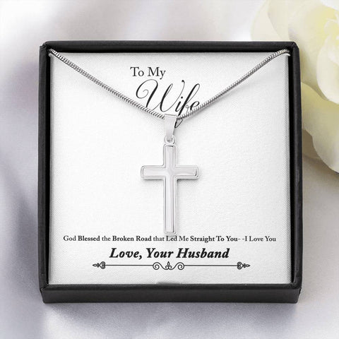 To My Wife- White Gold Finish Cross Necklace