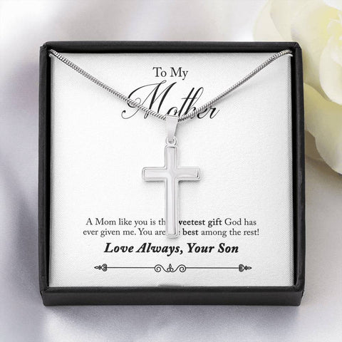 To My Mother- White Gold Finish Cross Necklace