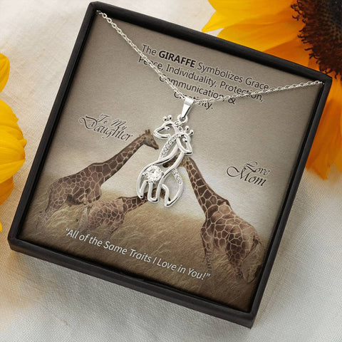 To My Daughter From Mom- Graceful Love Giraffe Necklace -Cool Tees and Things