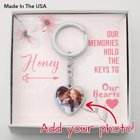 Our Memories Hold the Keys to Our Hearts- Photo Heart Keychain- Cool Tees and Things