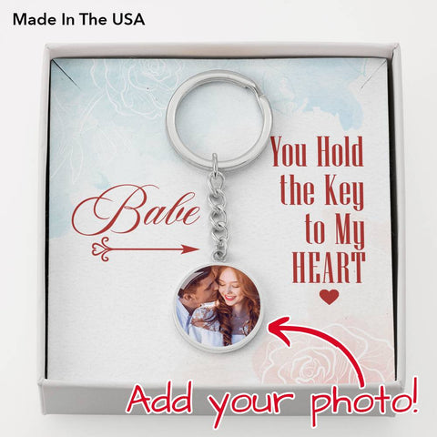 You Hold the Key to My Heart- Circle Photo Keychain-Cool Tees and Things
