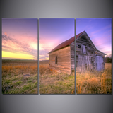 Barn At Sunset-Wallart 3 Piece Vertical Rectangle-Medium - Not frame-Cool Tees & Things