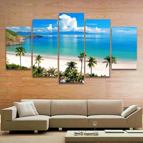 Beautiful Blue Sea Landscape Canvas Painting-Medium-Not Framed-Blue-Cool Tees & Things