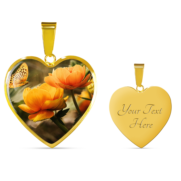 Beautiful Butterfly with Orange Flowers Pendant and Bangle Jewelry - Cool Tees and Things