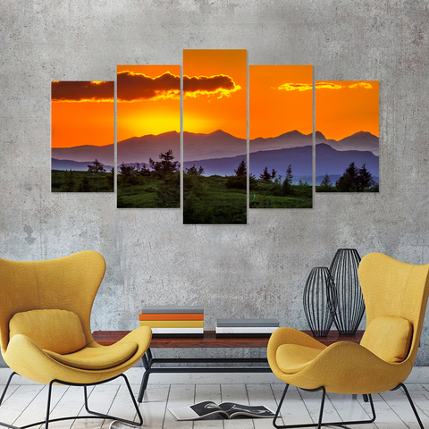 Beautiful Clouds At Sunrise-Canvas Print Wall Art Mural-Medium-Not Framed-Blue-Yellow-Orange-Cool Tees & Things