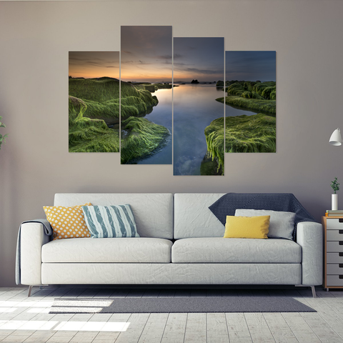 Beautiful Coastal Sunset Canvas-Medium-Not Framed-Blue-Green-Orange-Cool Tees & Things