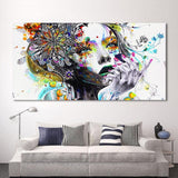 Beautiful Girl with Flowers Modern Frameless Canvas Art-12X24-Cool Tees & Things