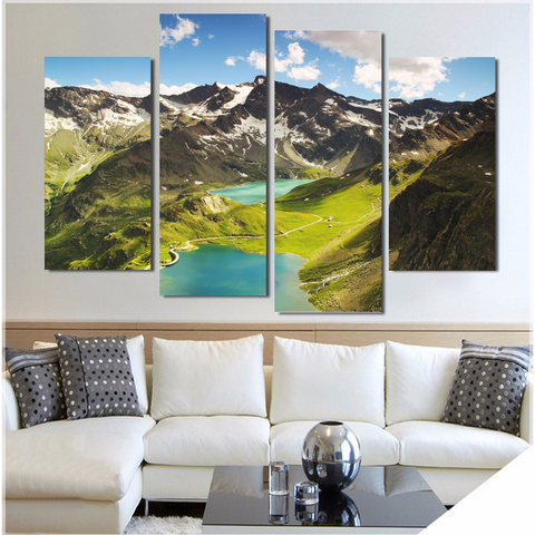 Beautiful Italian Landscape-Medium-Not Framed-Green/Blue/Brown/White-Cool Tees & Things