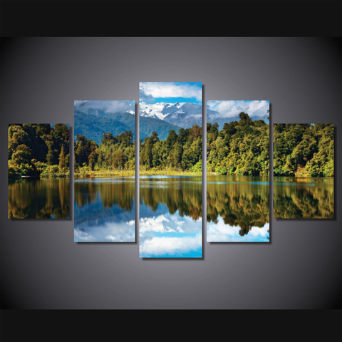 Beautiful Lake-Wallart 5 Piece Diamond-Medium - Not framed-Blue/Green/White-Cool Tees & Things