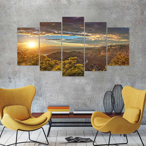 Beautiful Mountain Sunrise-Canvas Print Wall Art Mural-Medium-Not Framed-Blue-Yellow-Orange-Cool Tees & Things
