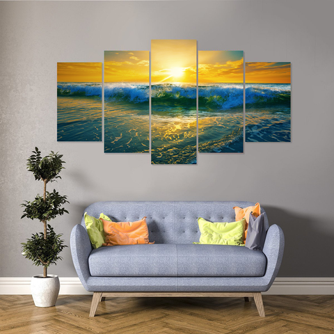 Beautiful Ocean Waves At Sunset-Gorgeous Canvas Print Wall Art Mural-Medium-Not Framed-Blue, Yellow-Cool Tees & Things