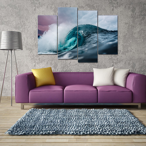 Beautiful Ocean Waves Canvas-Medium-Not Framed-Blue-Cool Tees & Things