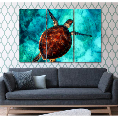 Beautiful Sea Turtle-Wallart 3 Piece Vertical Rectangle-Medium - Not framed-Brown/Aqua Blue-Cool Tees & Things