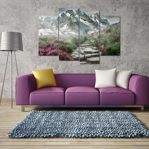 Beautiful Steinweg Germany Mountain Landscape Canvas-Medium-Not Framed-Blue-Green-Orange-Cool Tees & Things